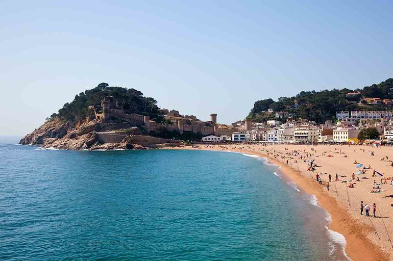 Sand beach in Tossa de Mar. Costa Brava, Spain