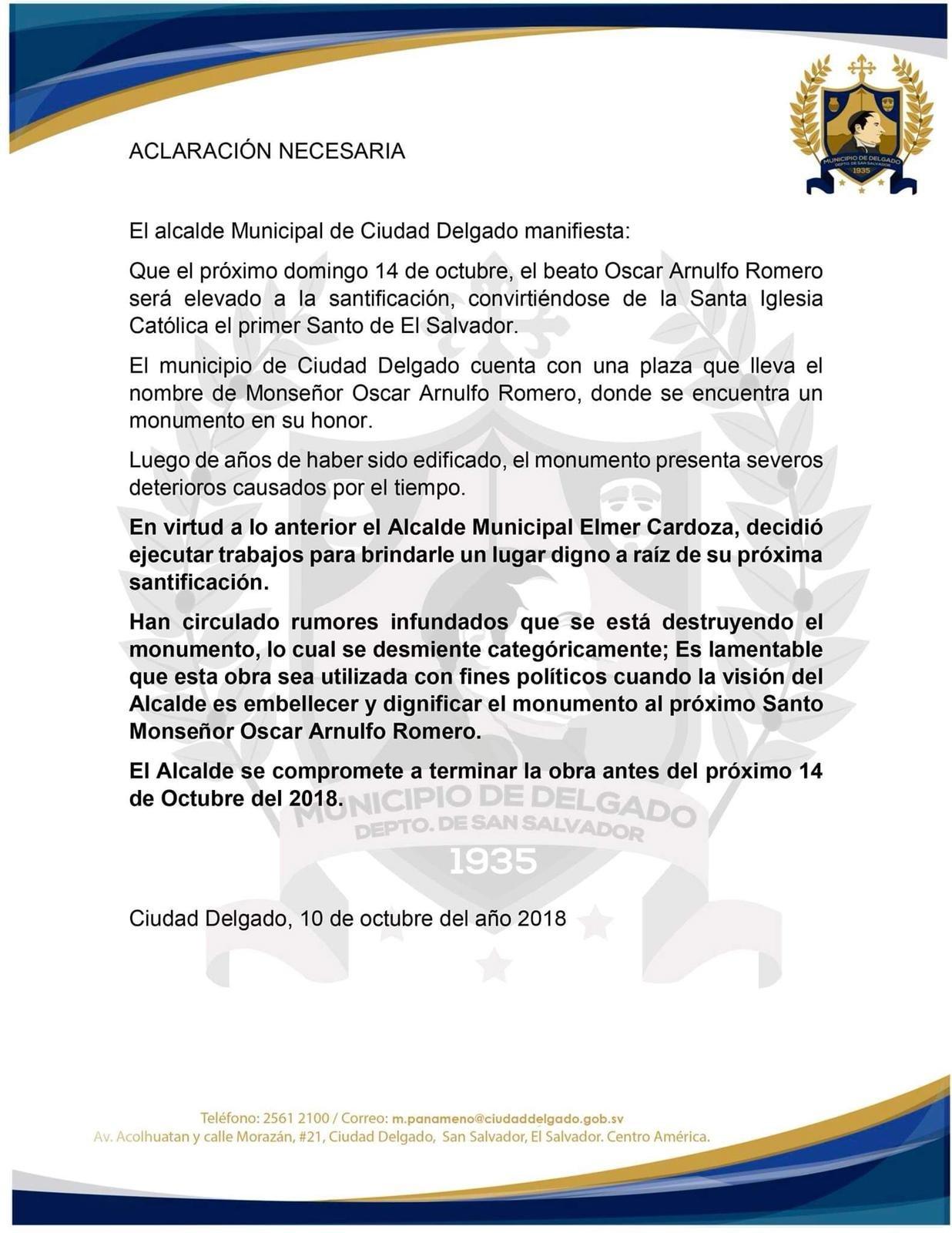 Comunicado Ciudad Delgado