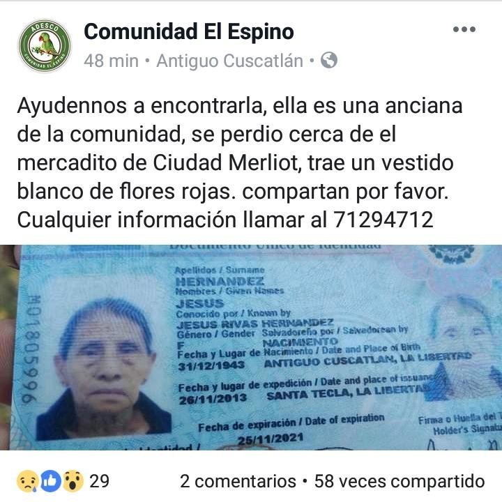 Desaparecida anciana